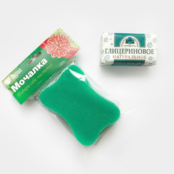 Набор: Мыло в ассортименте + Мочалка-губка фото